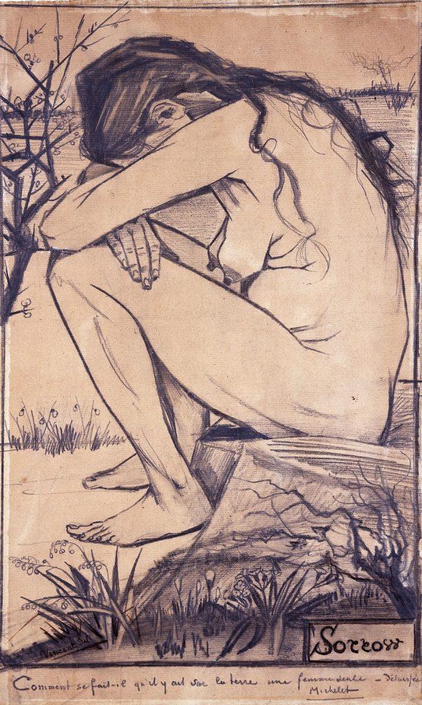 悲傷(荷/英:Sorrow) 梵谷(Vincent van Gogh)素描 1882, 44.5 cm x 27 cm 英格蘭 沃爾索新藝術畫廊(The New Art Gallery Walsall)