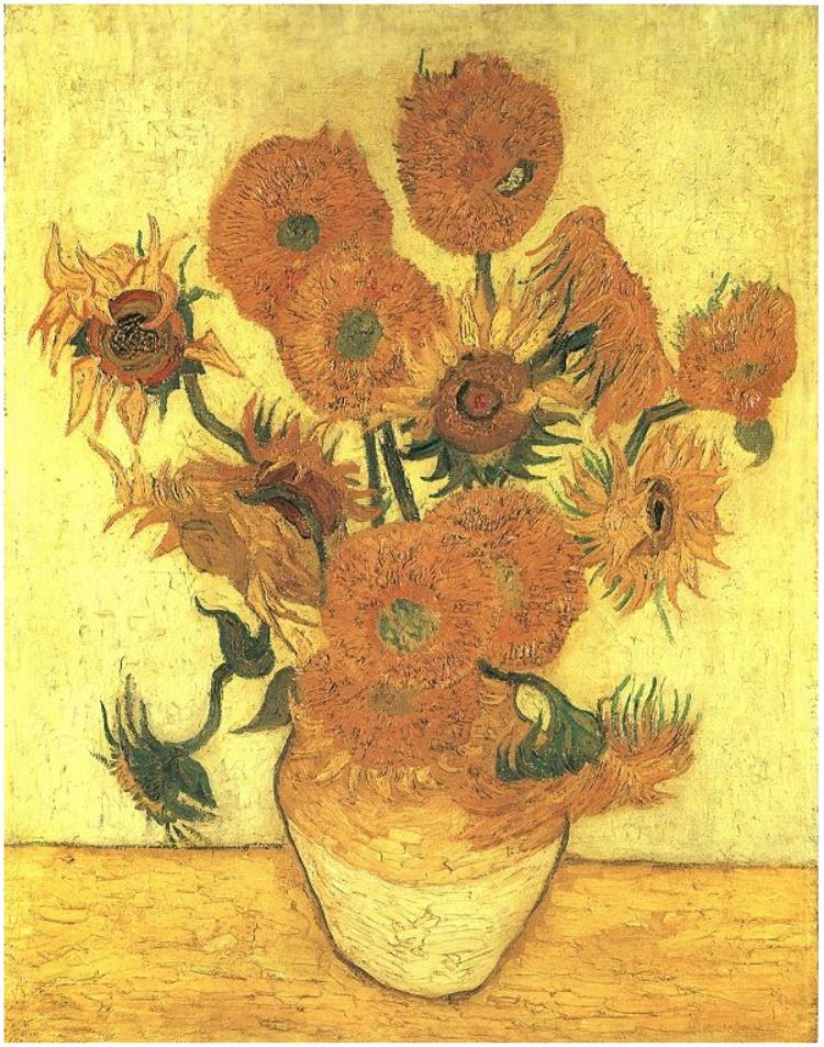 向日葵(法:Tournesols / 英:Sunflowers)第四幅 梵谷(Vincent van Gogh)油畫 1888, 92 cm x 73 cm 倫敦 國立美術館(National Gallery, London)