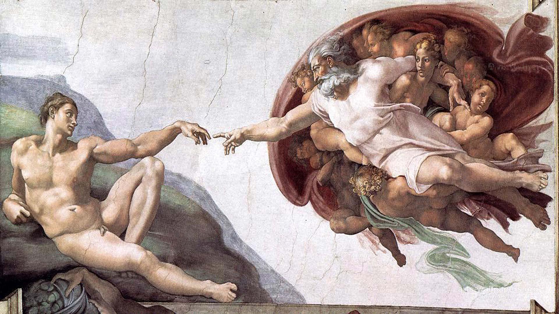 創造亞當(義:Creazione di Adamo / 英:The Creation of Adam) 1511, 230 cm x 480 cm 米開朗基羅(Michelangelo) 穹頂壁畫 梵蒂岡 西斯汀教堂 (Cappella Sistina, Musei Vaticani)