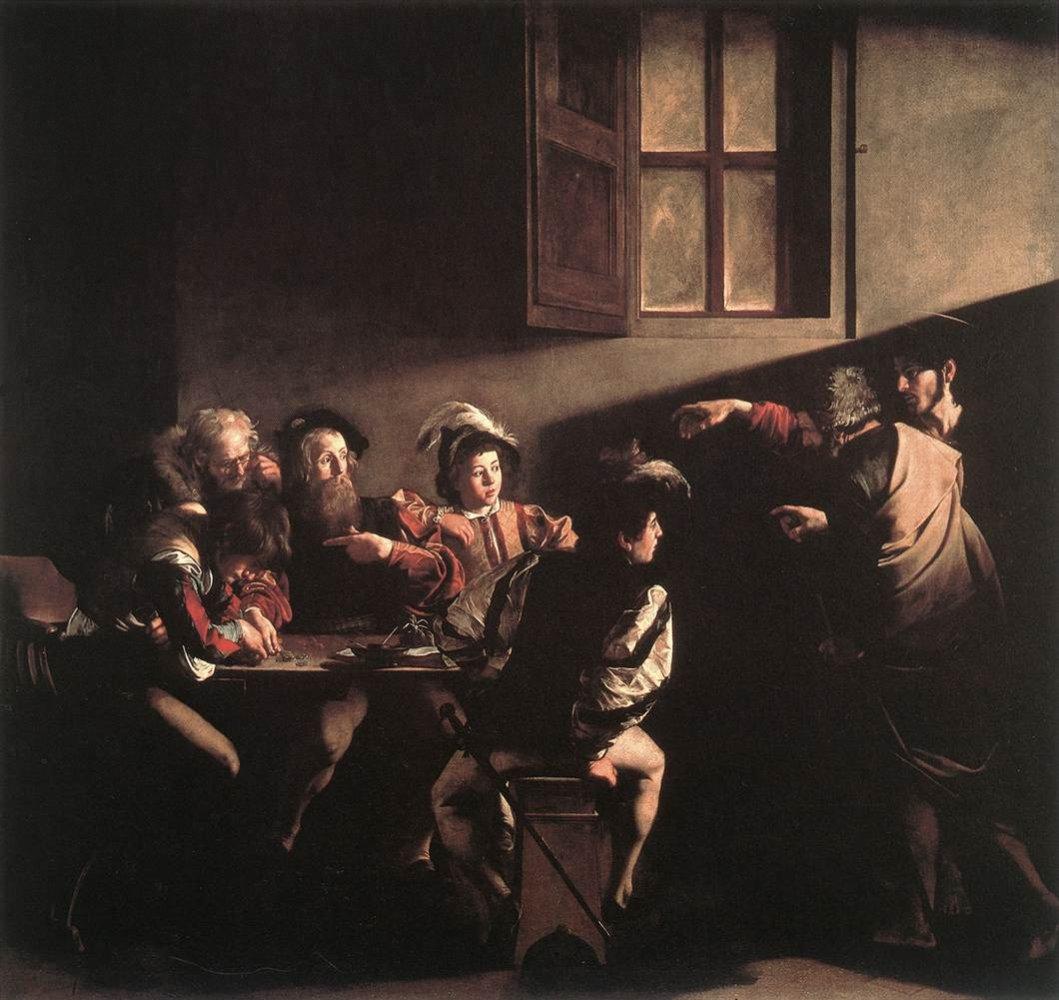 聖馬太蒙召(義:Vocazione di san Matteo / 英:The Calling of St. Mathew) 卡拉瓦喬(Michelangelo Merisi da Caravaggio)油畫 1599-1600, 322 cm x 340 cm 羅馬 法蘭西・聖路易教堂(San Luigi dei Francesi, Roma)