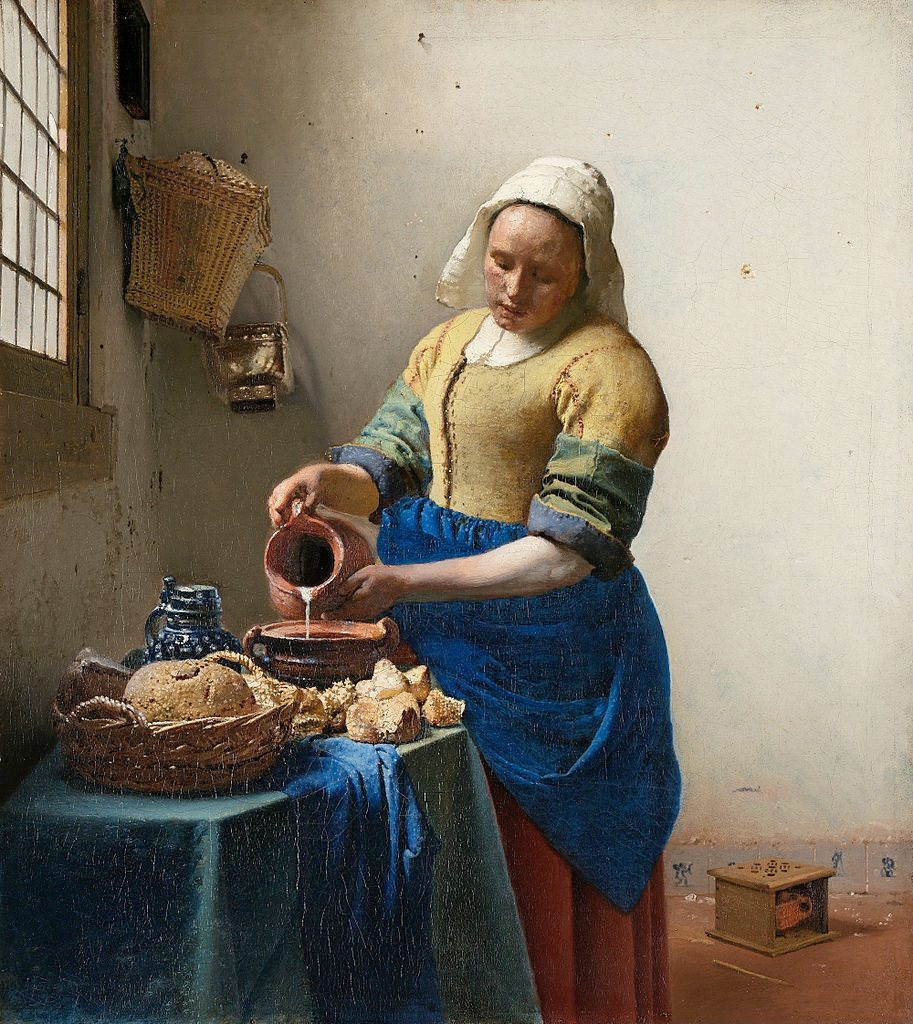 倒牛奶的女僕(荷:Het Melkmeisje / 英:The Milkmaid) 維梅爾(Johannes Vermeer) 油畫 1660, 45.5 cm x 41 cm 阿姆斯特丹 國家博物館 (Rijksmuseum Amsterdam)