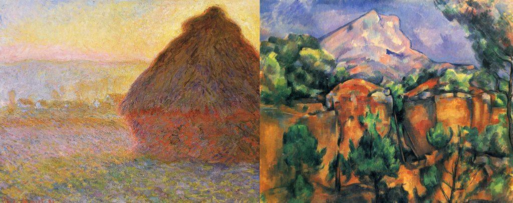 圖左:莫內《麥草堆》1895 / 圖右:塞尚《從比貝姆斯採石場看去的聖維克多山》1897 莫內為首的印象派專注表現自然光影下,瞬間即逝的感受。而塞尚則致力統合光影色彩與自然的體積感,呈現自然的永恆力量。