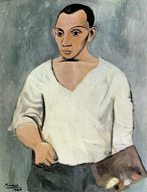 """Self-Portrait with Palette 1906. Pablo Ruiz y Picasso (Spanish, 1881 – 1973). Oil on canvas, 36 3/16 x 28 7/8 inches. Philadelphia Museum of Art, A.E. Gallatin Collection, 1950. """"Picasso & the Avant-Garde in Paris"""" at the Philadelphia Museum of Art, 26th Street & The Parkway, Philadelphia, through April 25"""