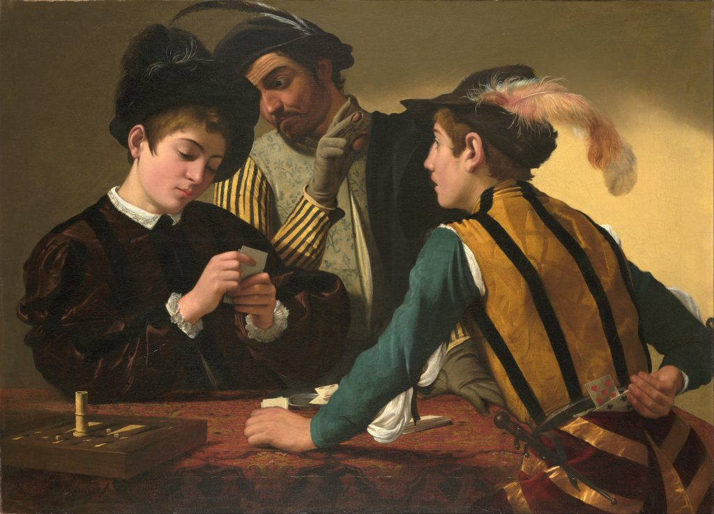 紙牌作弊老手(義:Bari/英:The Cardsharps) 卡拉瓦喬(Caravaggio)油畫 1594,94 cm × 131 cm Kimbell Art Museum, Fort Worth