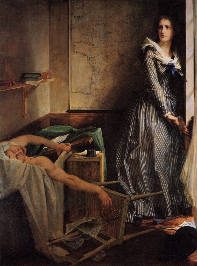 夏綠蒂・科黛刺殺馬拉(法L'Assassinat de Marat, Charlotte Corday / 英:Charlotte Corday) 波德里 (Paul-Jacques-Aimé Baudry)油畫 1860, 203 cm x 154 cm 南特 藝術博物館 (Musée de Beaux-Arts des Nantes)