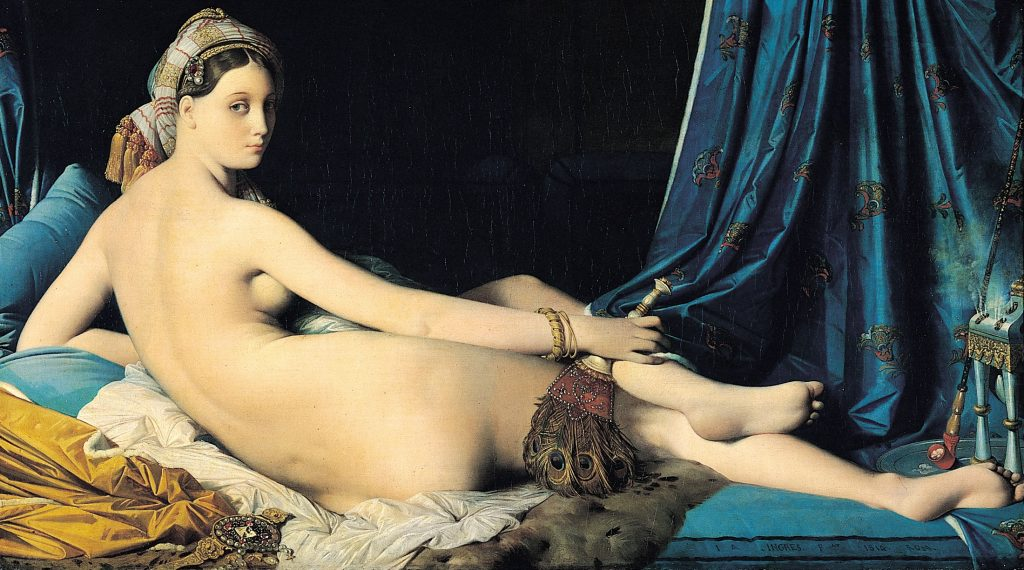 大宮女 (法:La Grande Odalisque / 英:The Grand Odalisque) 安格爾(Jean-Auguste-Dominique Ingres) 油畫 1814, 91 cm × 162 cm 巴黎 羅浮宮(Musée du Louvre, Paris)
