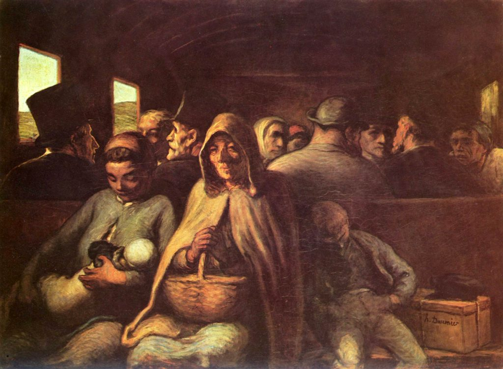 三等車廂 (法: Le Wagon de troisième classe / 英: The Third Class Carriage) 杜米埃 ((Honoré Daumier) 1862, 67 cm x 93 cm 渥太華 加拿大國家美術館 (The National Gallery of Canada, Ottawa)