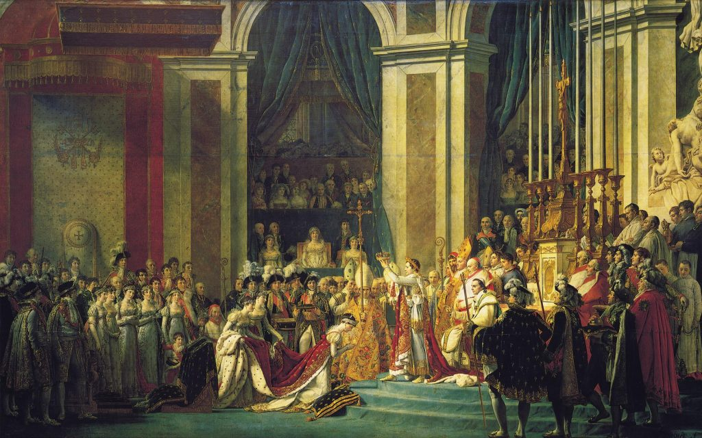 拿破崙加冕大典(法:Le Sacre de Napoléon / 英:The Coronation of Napoleon) 雅克 − 路易・大衛(Jacques-Louis David) 1805~1807, 621 cm x 979 cm
