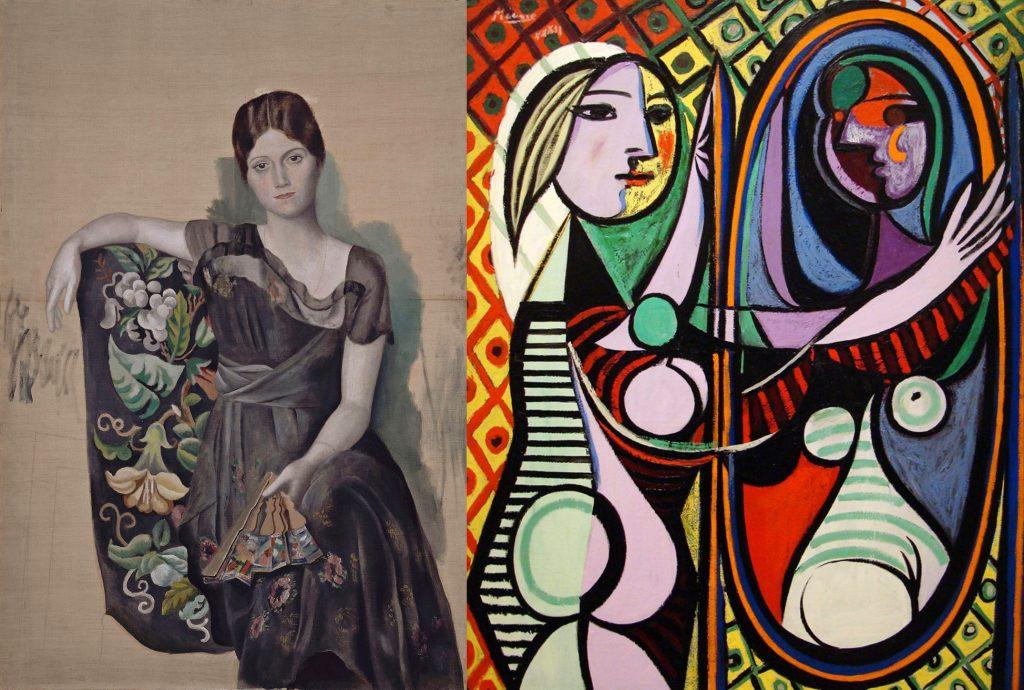 左:歐嘉・畢卡索(Olga Picasso), 1918,130 cm x 88.8 cm 巴黎 畢卡索美術館 右:鏡前的女孩(法:Jeune fille devant un miroir / 英:Girl before a Mirror) 畢卡索(Pablo Picasso)油畫 1932, 162 cm x 130 cm 紐約 現代藝術博物館