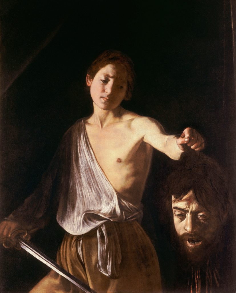 手提哥利亞頭顱的大衛 (義:Davide con la testa di Golia / 英:David with the Head of Goliath) 卡拉瓦喬(Michelangelo Merisi da Caravaggio)油畫 1609-1610, 125 cm x 101 cm 羅馬 博蓋塞美物館(Galleria Borghese, Roma)