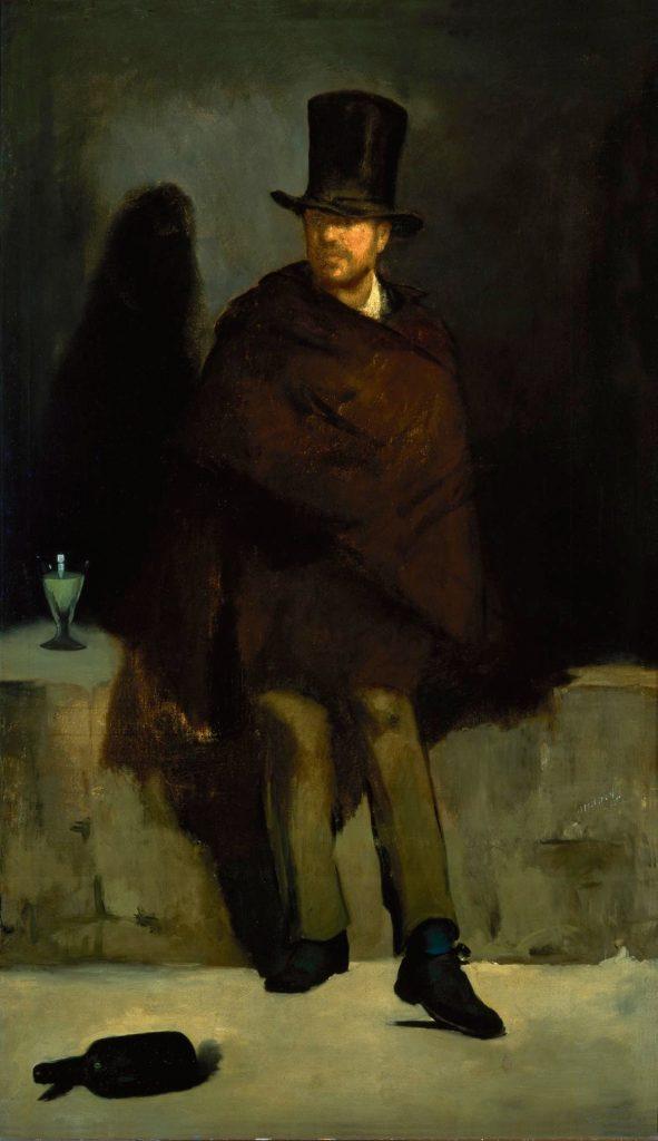 喝苦艾酒的人(法:Le Buveur d'absinthe / 英:The Absinthe Drinker) 馬奈(Édouard Manet)油畫 1859, 180.5 cm × 105.6 cm 哥本哈根 新嘉士伯藝術博物館(Ny Carlsberg Glyptotek, København)
